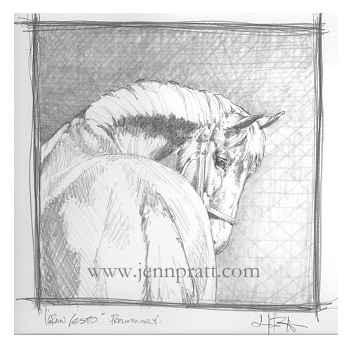 Gran Gesto - aka 'Sammy', Preliminary Study in graphite
