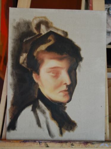 Head study of Sargent copy, final day of workshop