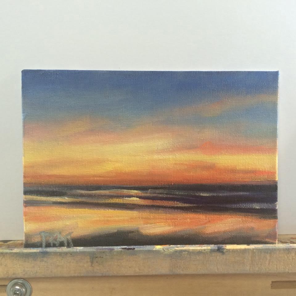 Neskowin Sunset, 6x6 Oil on Canvas Panel