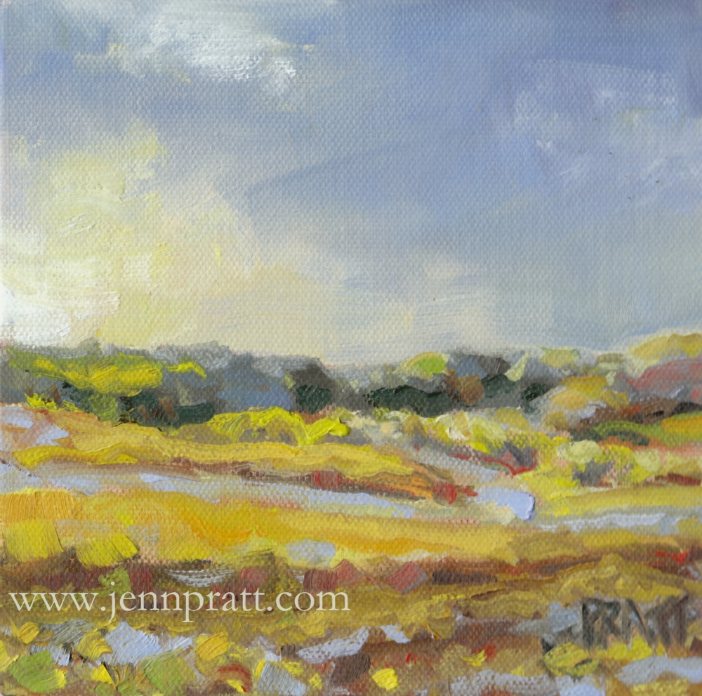 Templeton Hillside, 6x6 oil on canvas panel