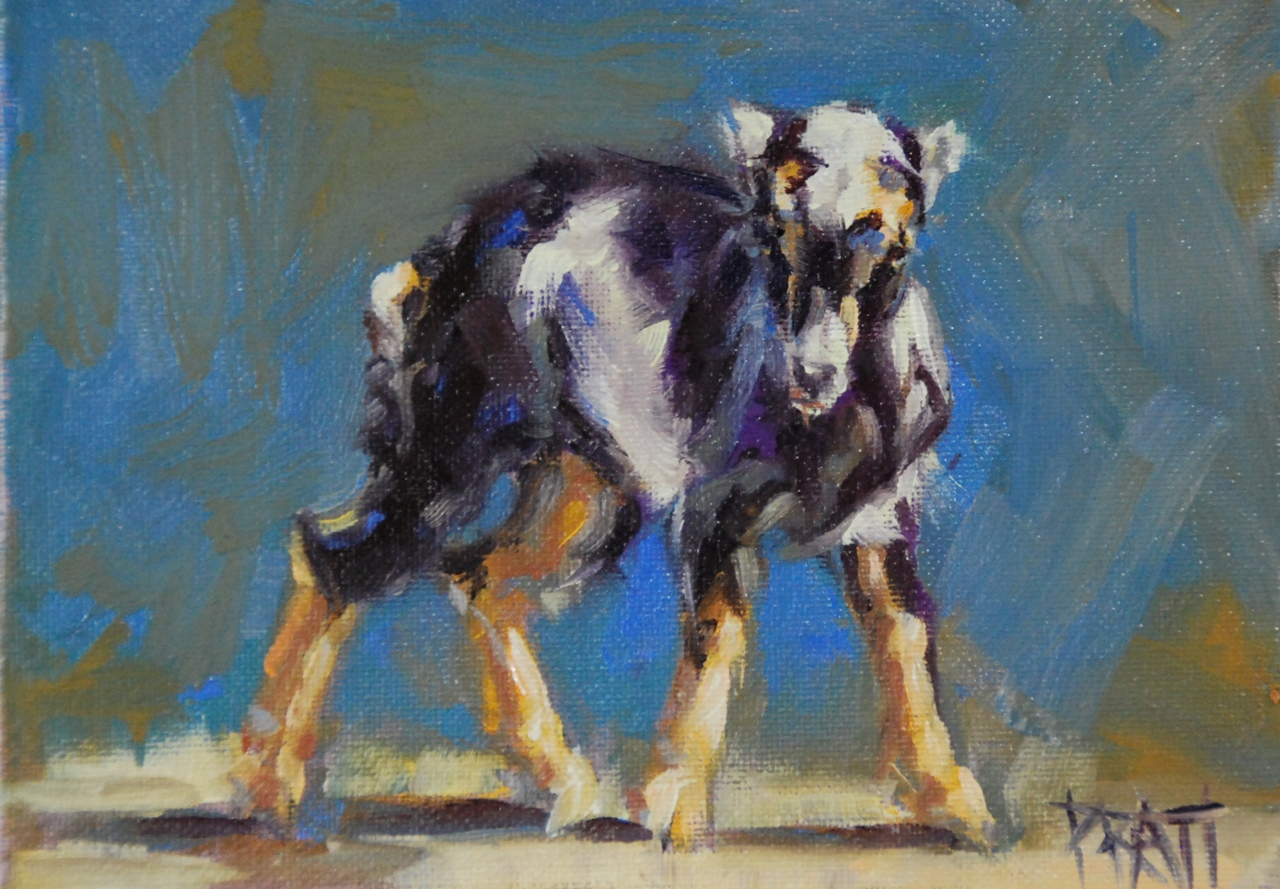 Terminator Goat, 5x7, oil on canvas panel