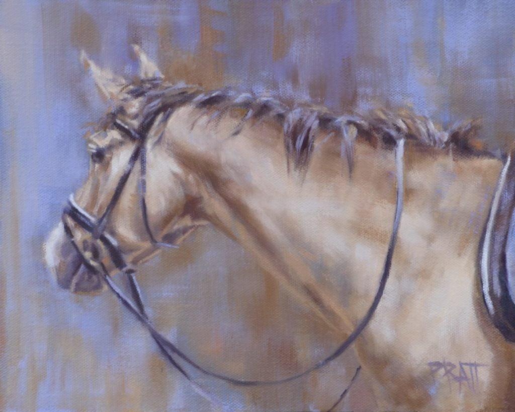 Buckskin, equine art, Jennifer Pratt, horse painting