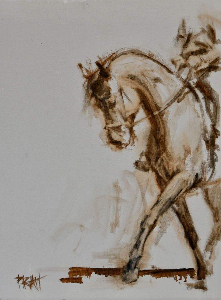 dressage, equine art, oil sketches, horses, Jennifer Pratt