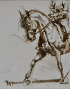 dressage, Jennifer Pratt, equine art, oil sketches
