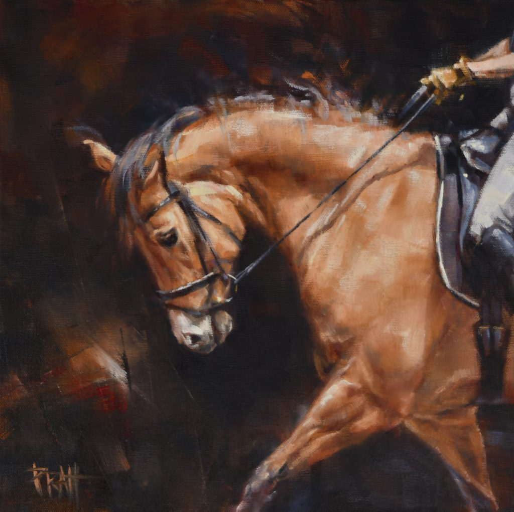 equine art, Jennifer pratt, oil painting, dressage, horse art,