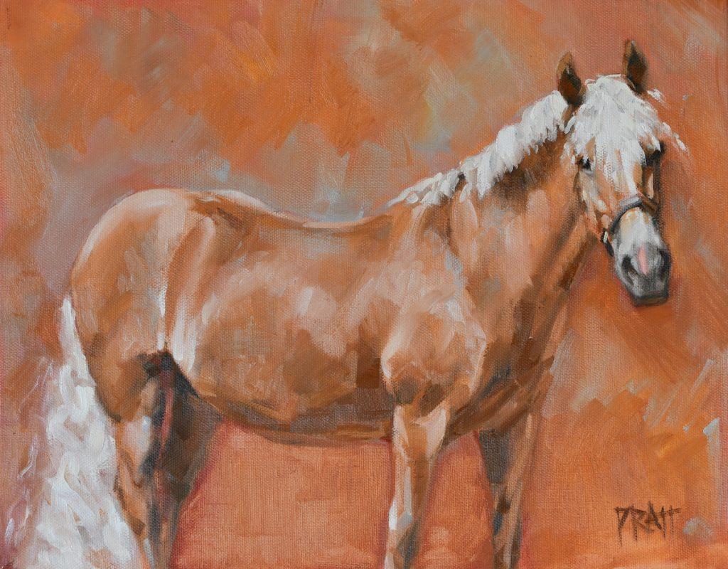 equine art, haflinger, horse art, flaxen mane, chestnut mare