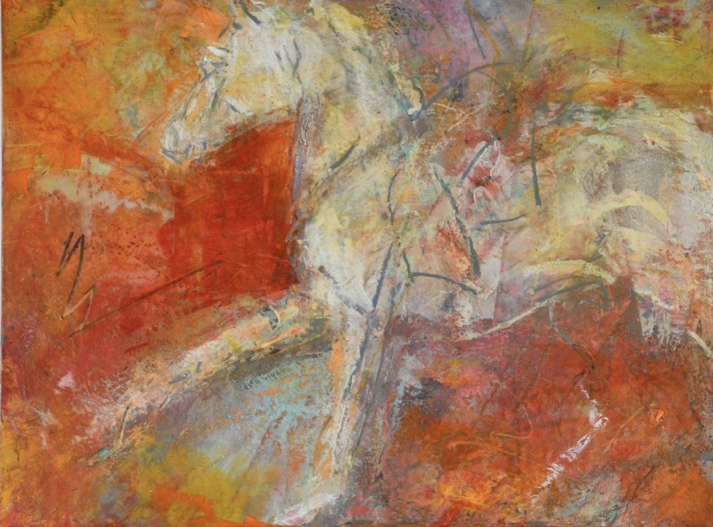 Equine art, oil and cold wax